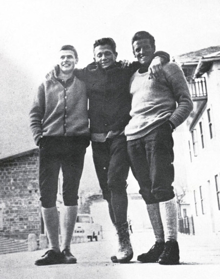 R. Messner, S. Mayerl and H. Messner after the first winter ascent of North face of Monte Agnèr in 1968