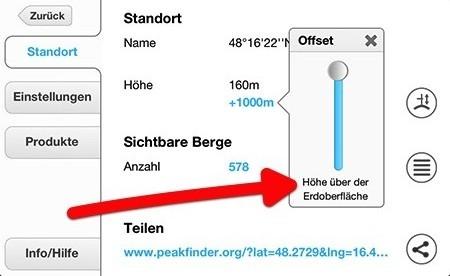 Peakfinder - Höhe über Erdoberfläche