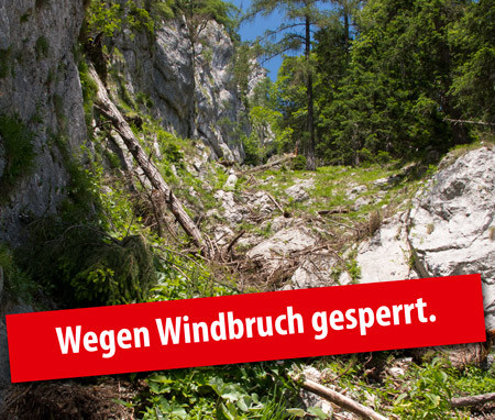 Windbruch Rax Wegsperren Klettersteig gesperrt